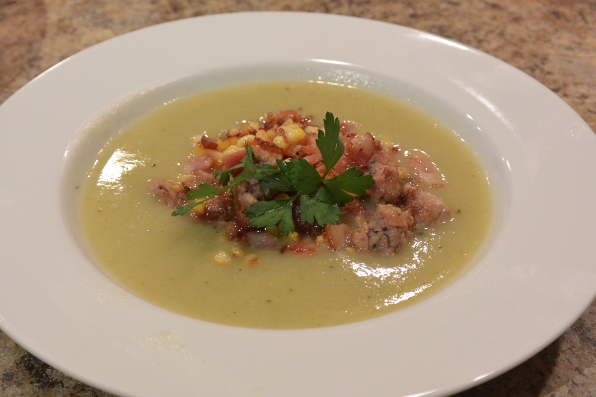 Zucchini Soup with Corn & Pancetta Stuffing pg 86