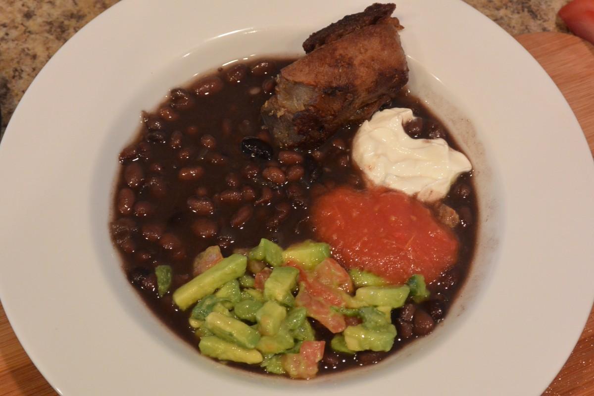 Beans, guac, red salsa, sourcream, pork Apr 3 2014